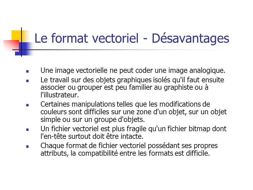 Le format vectoriel - Désavantages