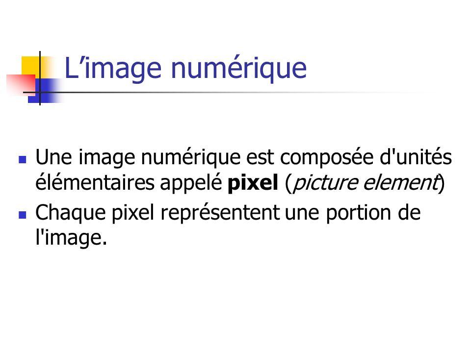 L'image numérique Une image numérique est composée d unités élémentaires appelé pixel (picture element)