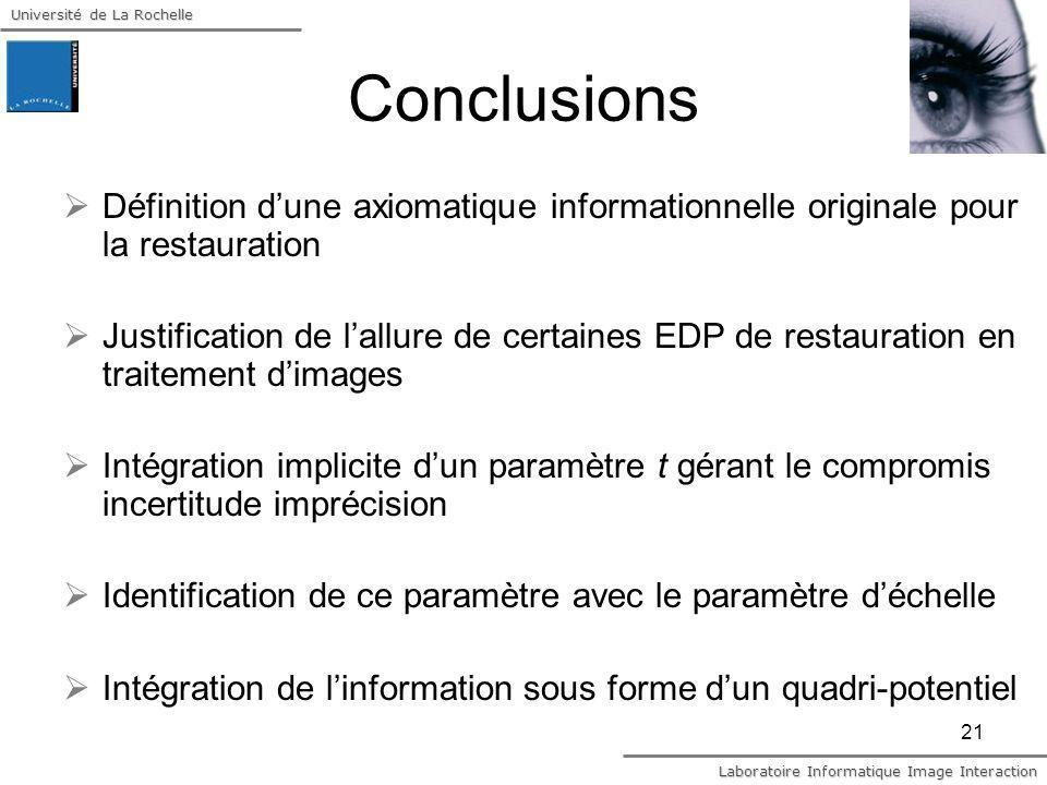 Conclusions Définition d'une axiomatique informationnelle originale pour la restauration.