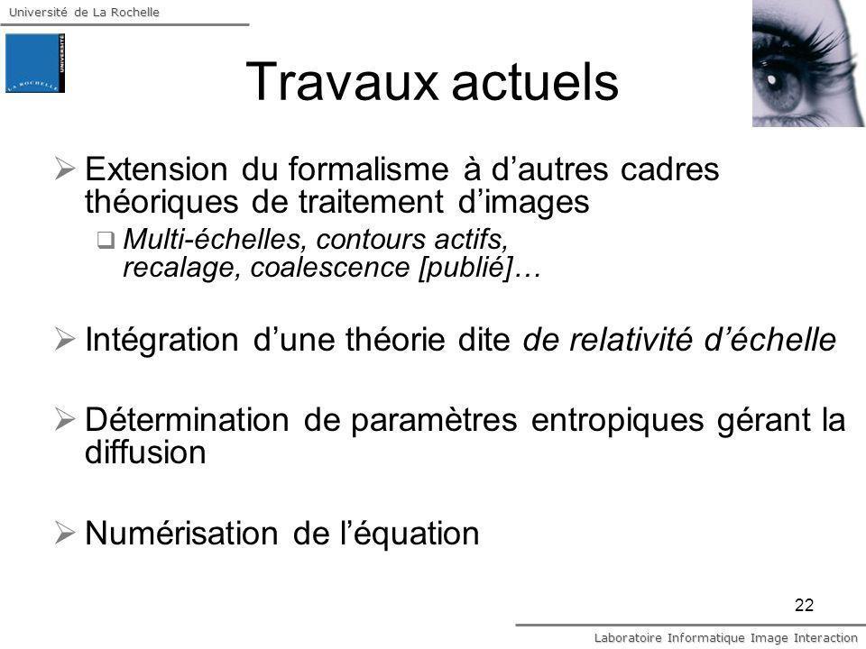 Travaux actuels Extension du formalisme à d'autres cadres théoriques de traitement d'images.