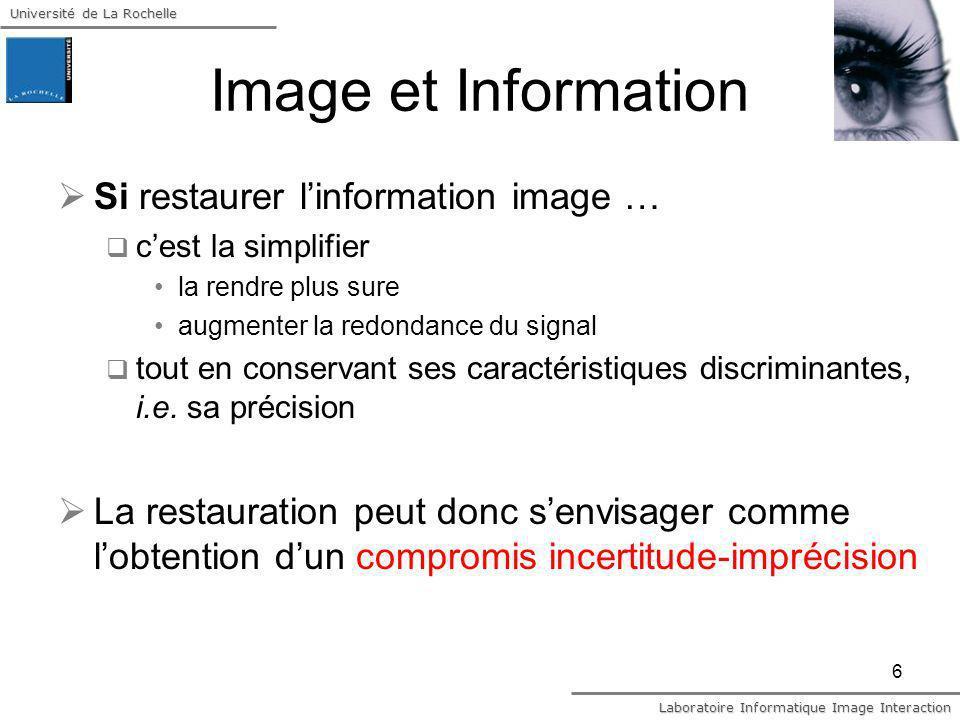Image et Information Si restaurer l'information image …