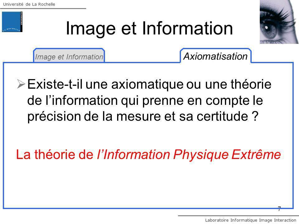 Image et Information Axiomatisation. Image et Information.