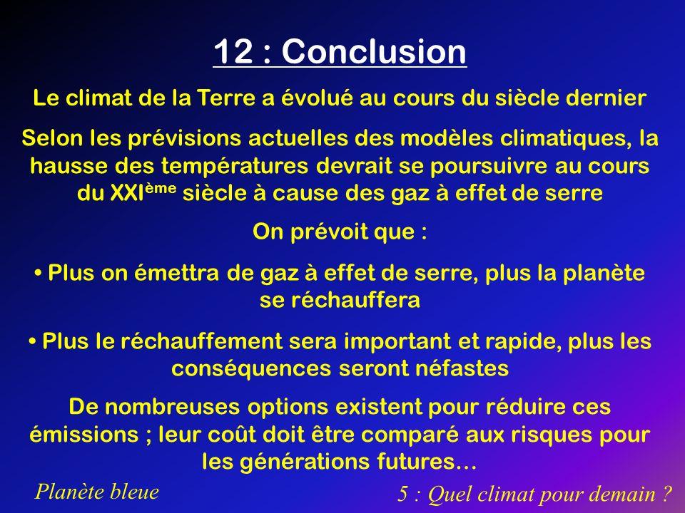 12 : ConclusionLe climat de la Terre a évolué au cours du siècle dernier.