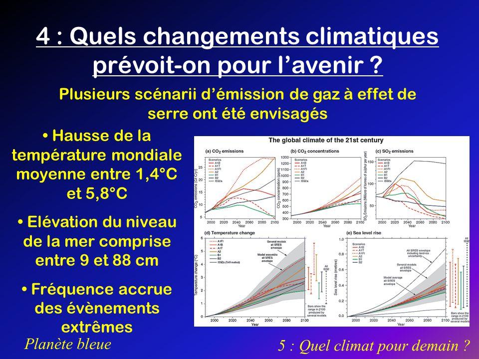 4 : Quels changements climatiques prévoit-on pour l'avenir