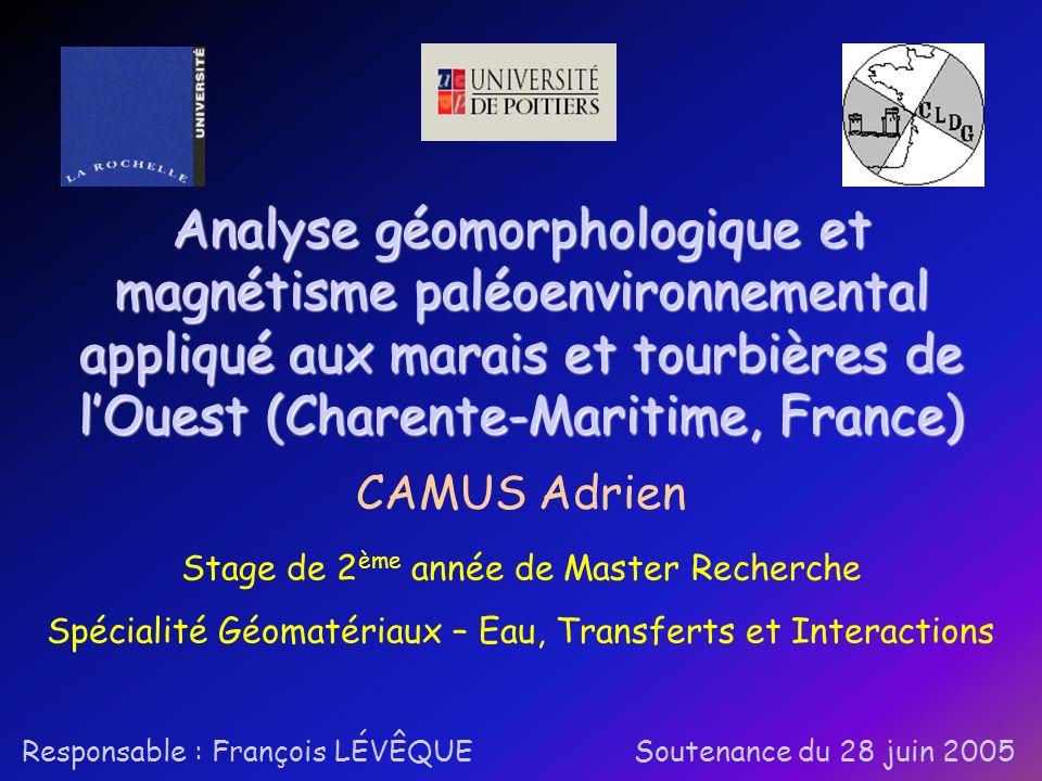 Analyse géomorphologique et magnétisme paléoenvironnemental appliqué aux marais et tourbières de l'Ouest (Charente-Maritime, France)
