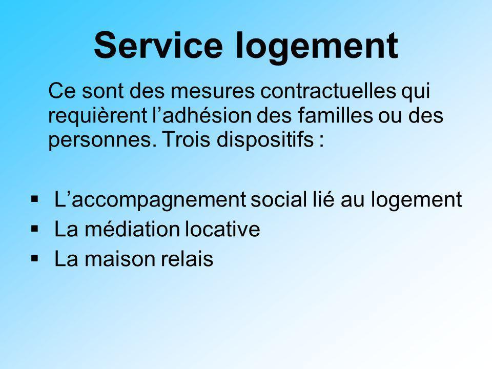 Service logement Ce sont des mesures contractuelles qui requièrent l'adhésion des familles ou des personnes. Trois dispositifs :