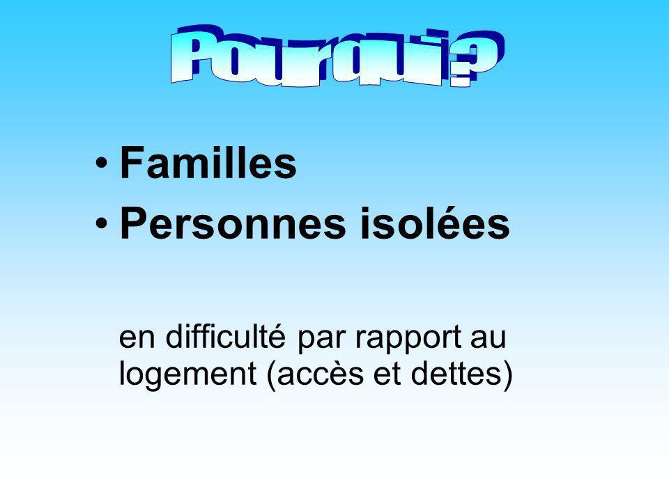 Familles Personnes isolées Pour qui