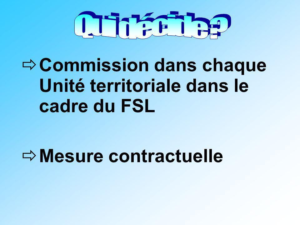 Commission dans chaque Unité territoriale dans le cadre du FSL