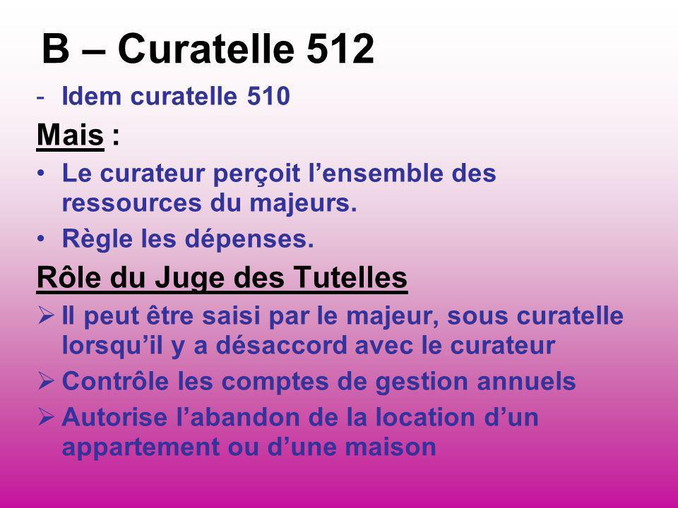 B – Curatelle 512 Mais : Rôle du Juge des Tutelles Idem curatelle 510
