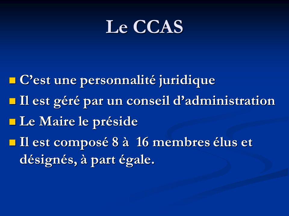 Le CCAS C'est une personnalité juridique