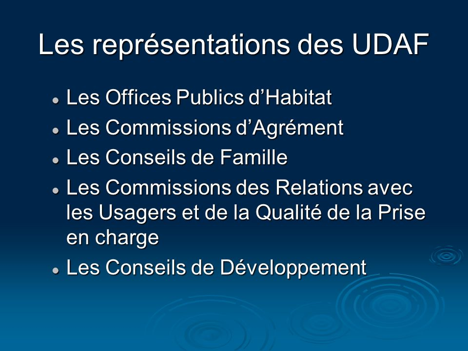 Les représentations des UDAF