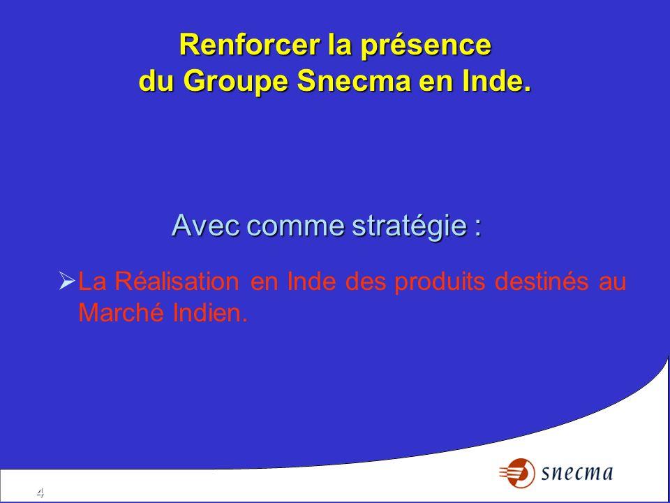 Renforcer la présence du Groupe Snecma en Inde.