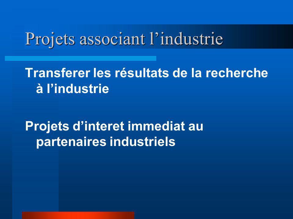 Projets associant l'industrie