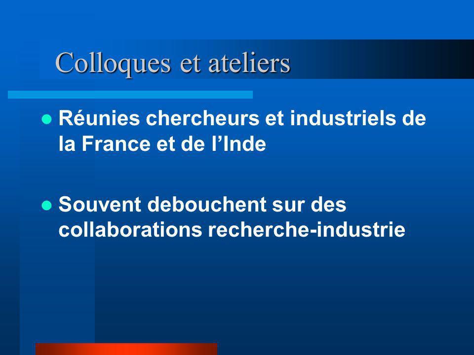 Colloques et ateliers Réunies chercheurs et industriels de la France et de l'Inde.