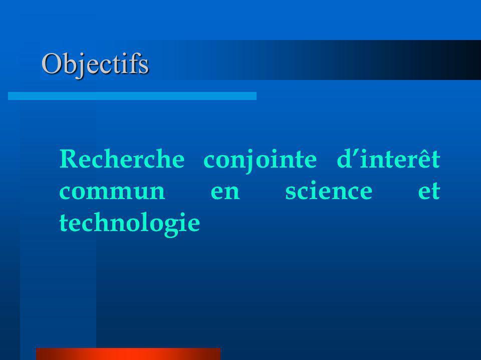 Objectifs Recherche conjointe d'interêt commun en science et technologie