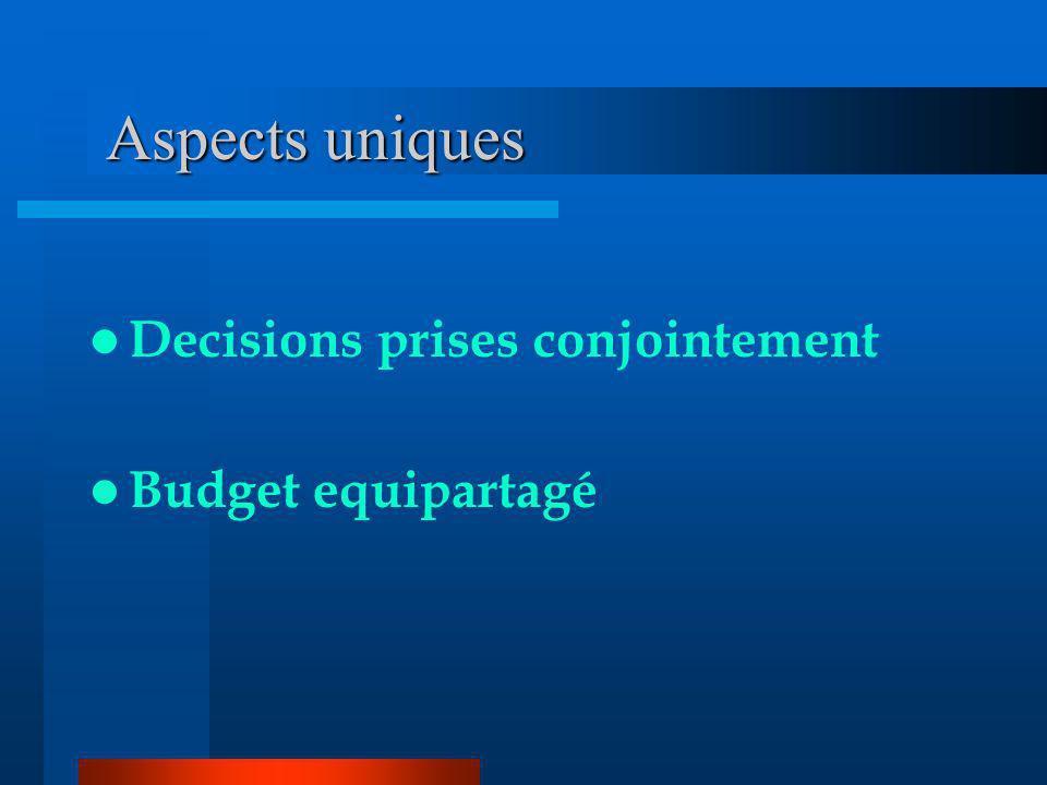 Aspects uniques Decisions prises conjointement Budget equipartagé