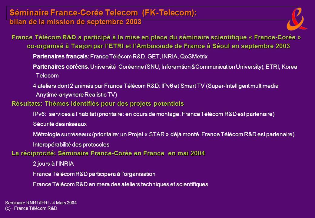 Séminaire France-Corée Telecom (FK-Telecom): bilan de la mission de septembre 2003