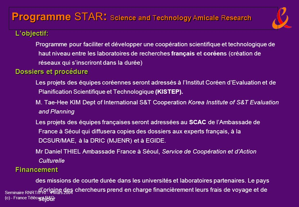 Programme STAR: Science and Technology Amicale Research