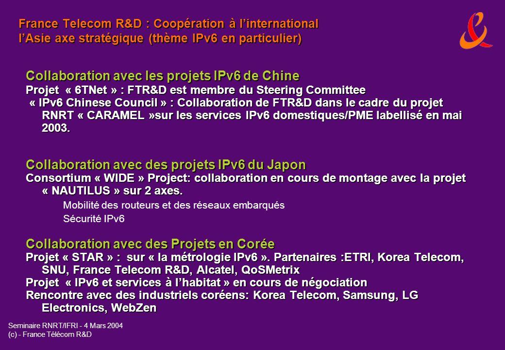 Collaboration avec les projets IPv6 de Chine