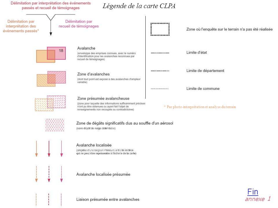 Légende de la carte CLPA