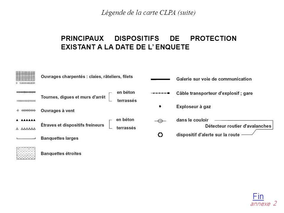 Légende de la carte CLPA (suite)