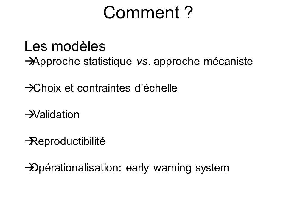 Comment Les modèles Approche statistique vs. approche mécaniste