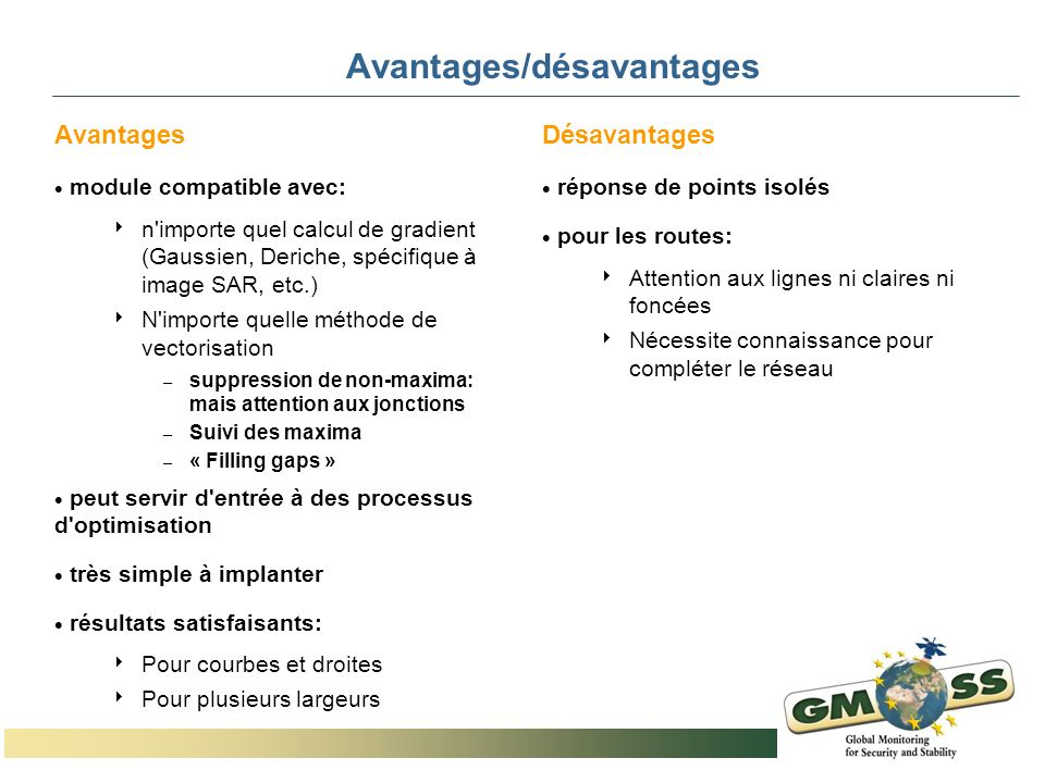 Avantages/désavantages