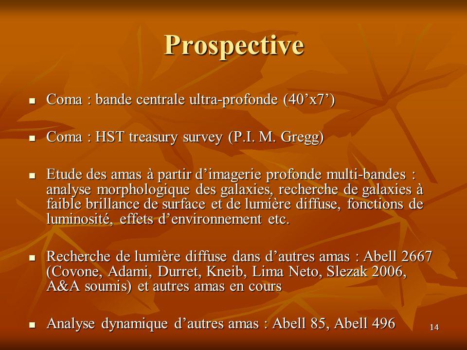 Prospective Coma : bande centrale ultra-profonde (40'x7')