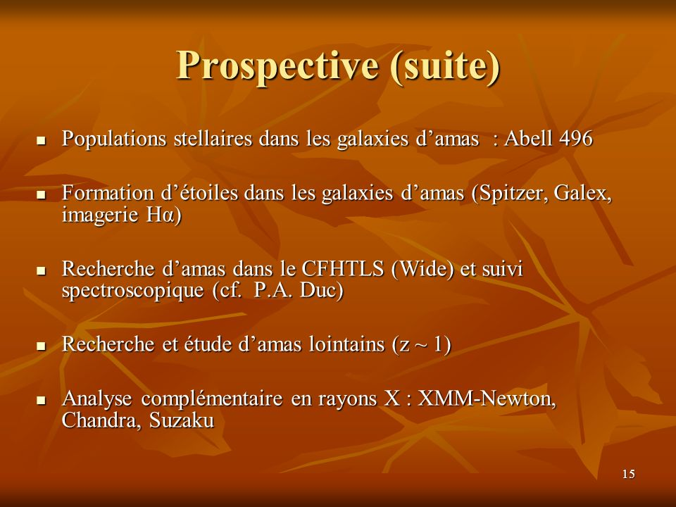 Prospective (suite) Populations stellaires dans les galaxies d'amas : Abell 496.