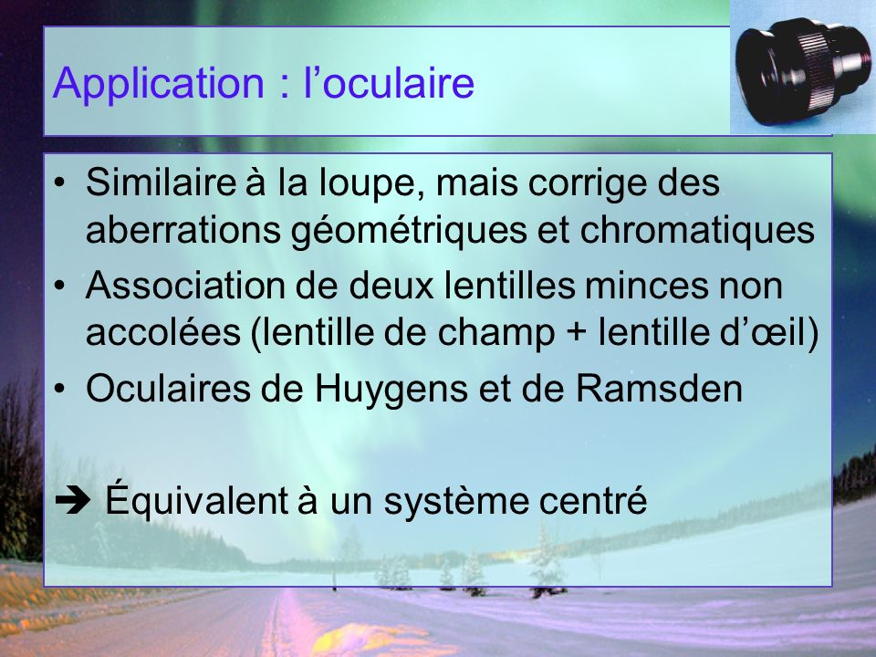 Application : l'oculaire