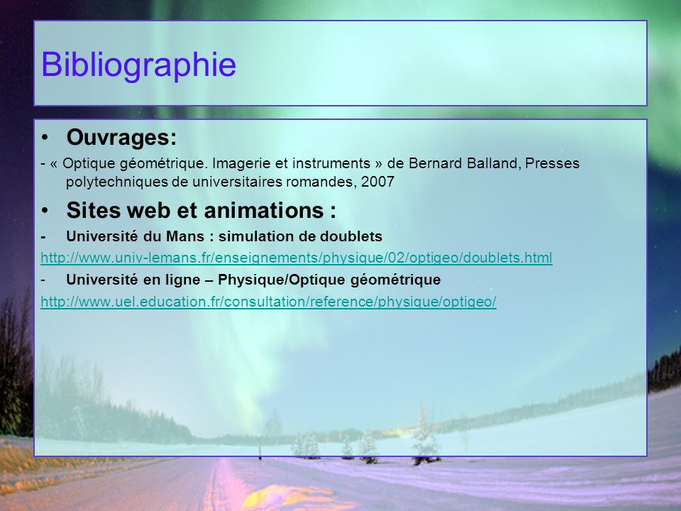 Bibliographie Ouvrages: Sites web et animations :