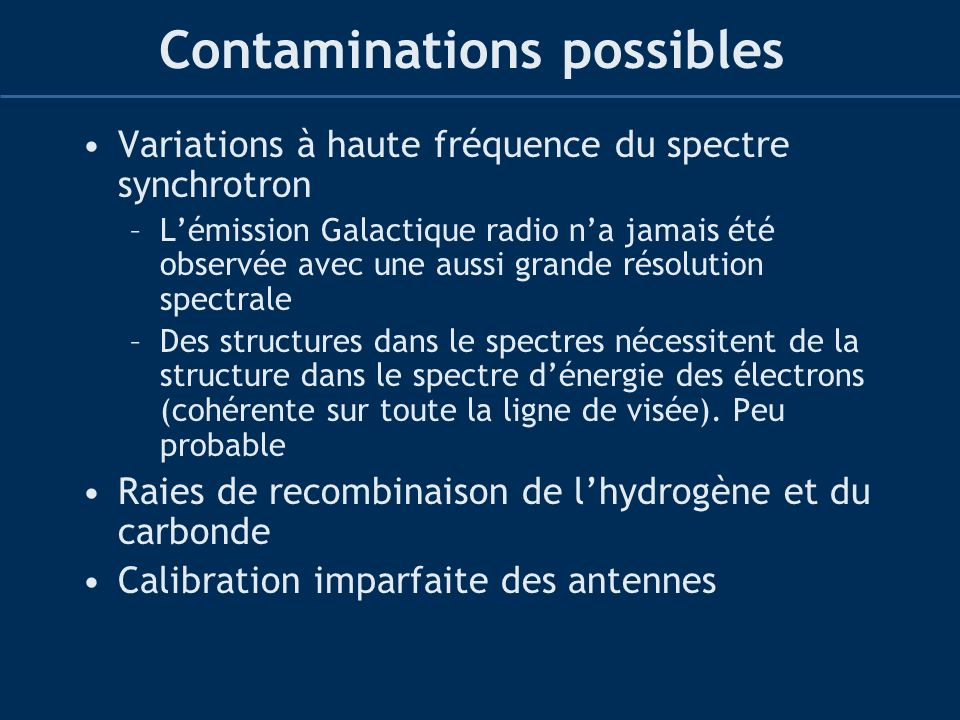 Contaminations possibles