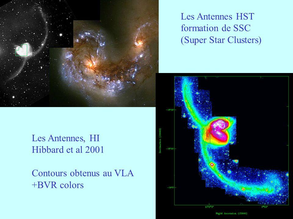 Les Antennes HST formation de SSC. (Super Star Clusters) Les Antennes, HI. Hibbard et al 2001. Contours obtenus au VLA.