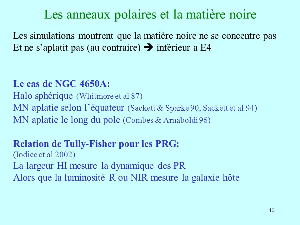 Les anneaux polaires et la matière noire