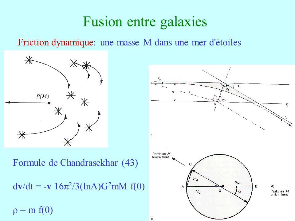 Fusion entre galaxies Friction dynamique: une masse M dans une mer d étoiles. Formule de Chandrasekhar (43)