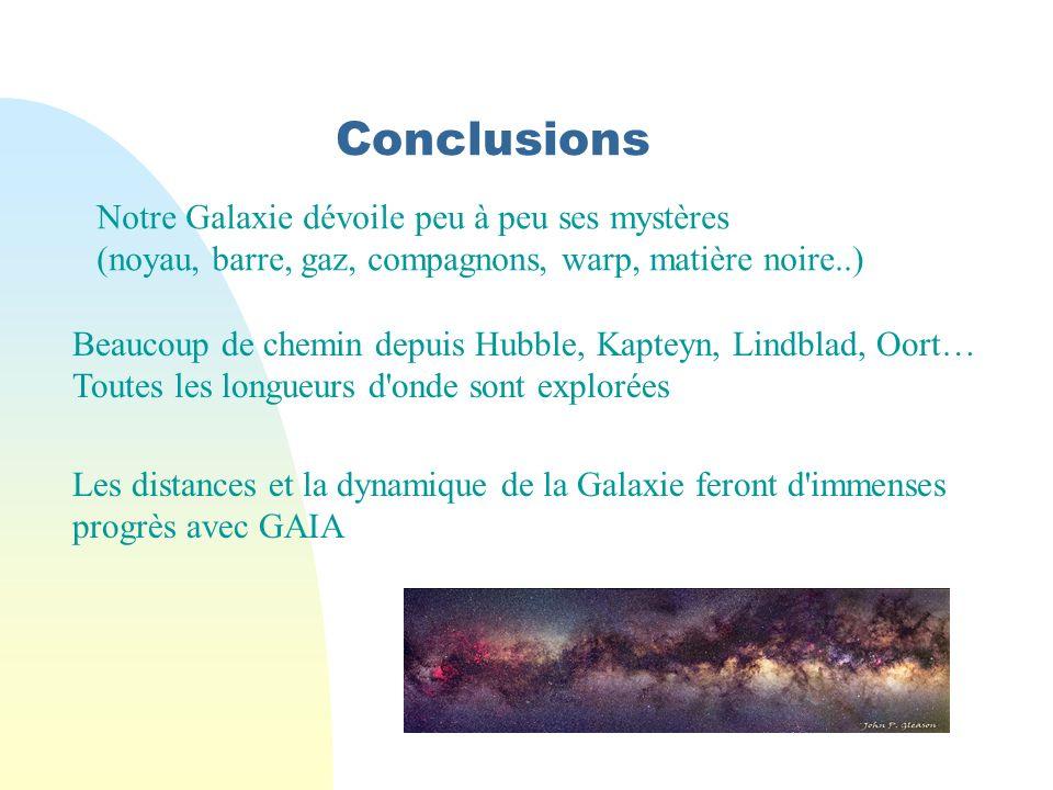 Conclusions Notre Galaxie dévoile peu à peu ses mystères