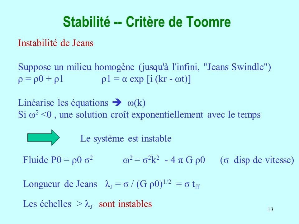 Stabilité -- Critère de Toomre