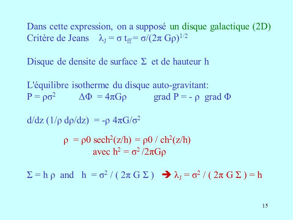 Dans cette expression, on a supposé un disque galactique (2D)
