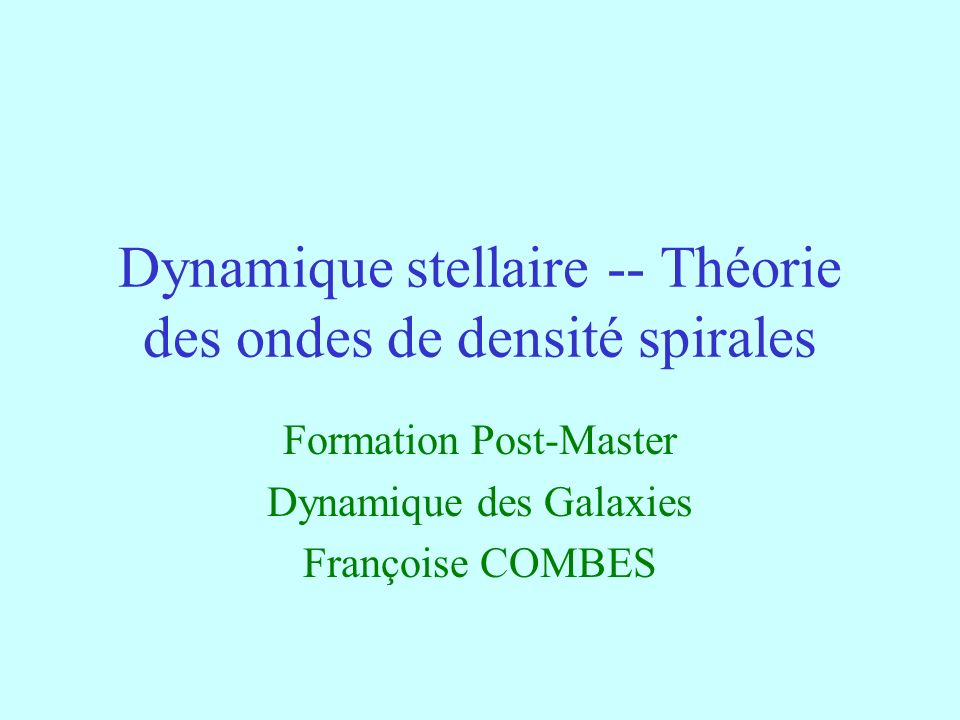 Dynamique stellaire -- Théorie des ondes de densité spirales