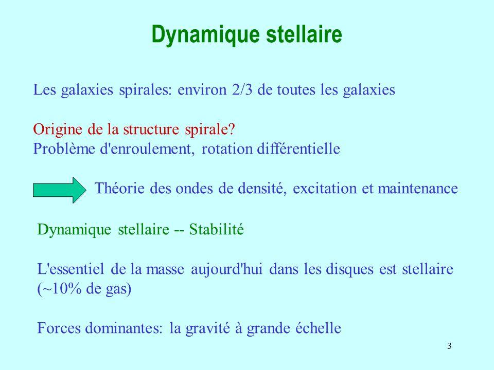 Dynamique stellaire Les galaxies spirales: environ 2/3 de toutes les galaxies. Origine de la structure spirale
