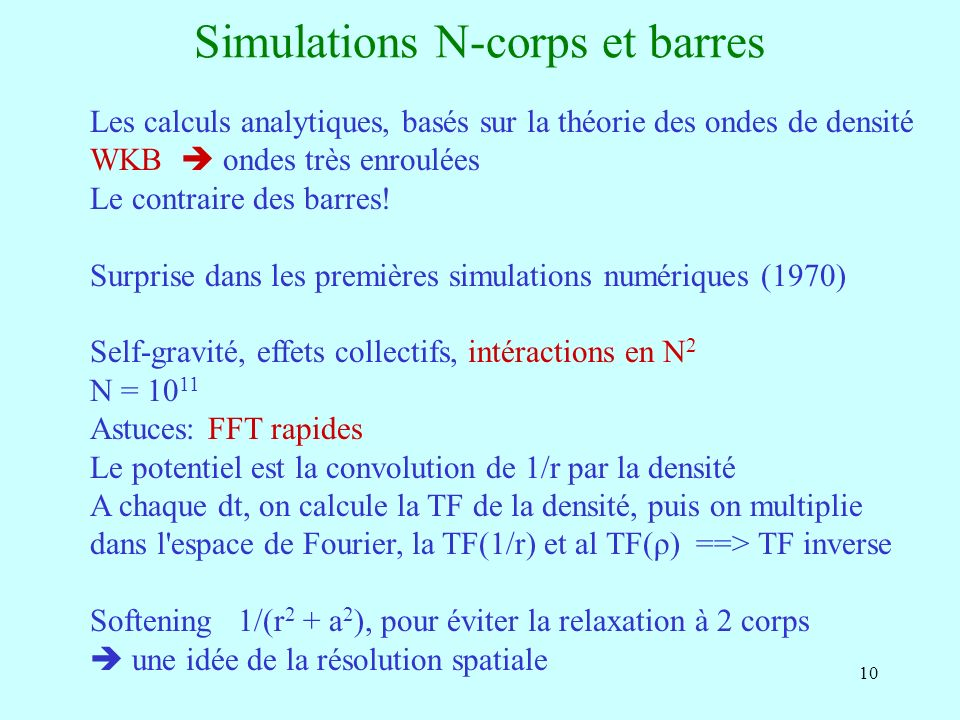 Simulations N-corps et barres