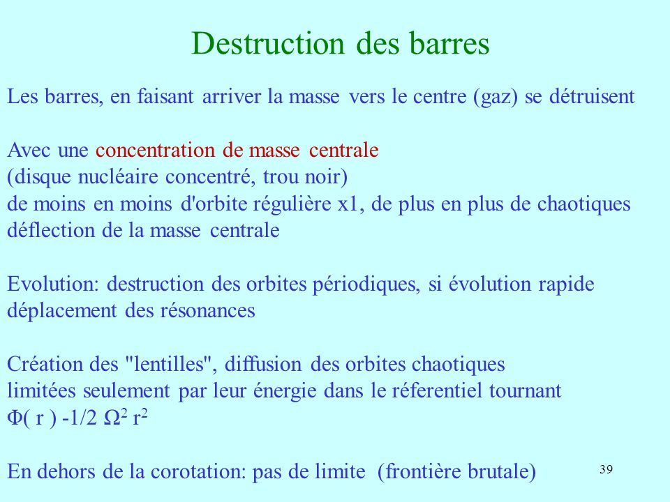 Destruction des barres