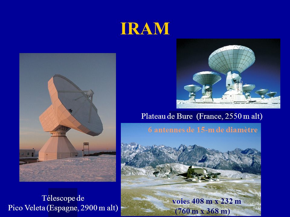IRAM voies 408 m x 232 m Plateau de Bure (France, 2550 m alt)