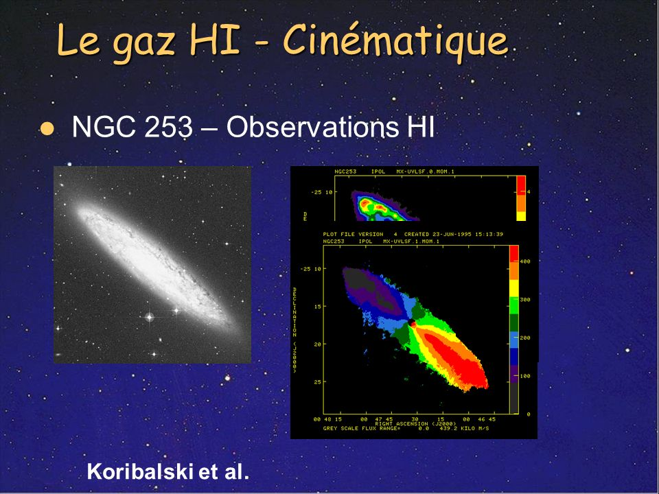 Le gaz HI - Cinématique NGC 253 – Observations HI Koribalski et al.