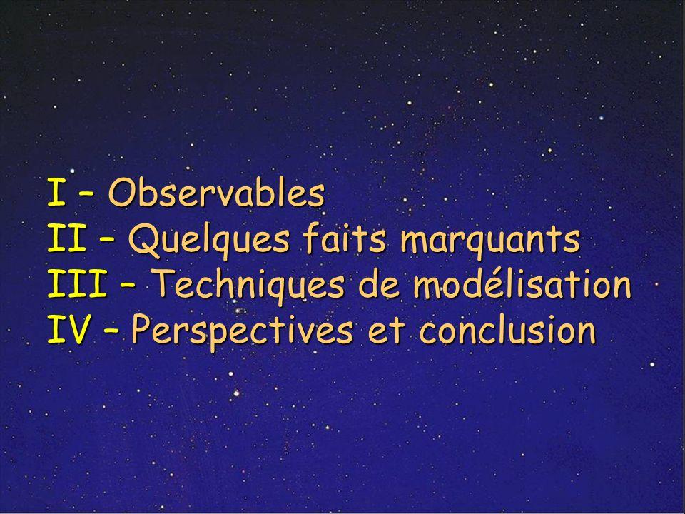 I – Observables II – Quelques faits marquants III – Techniques de modélisation IV – Perspectives et conclusion