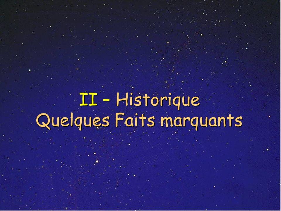 II – Historique Quelques Faits marquants