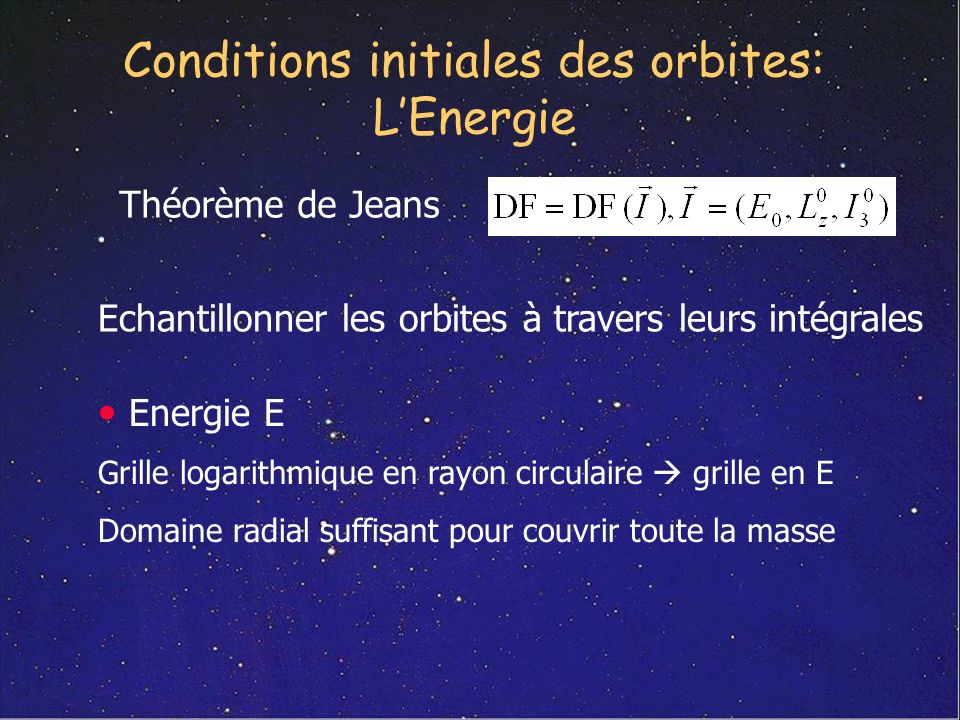 Conditions initiales des orbites: L'Energie