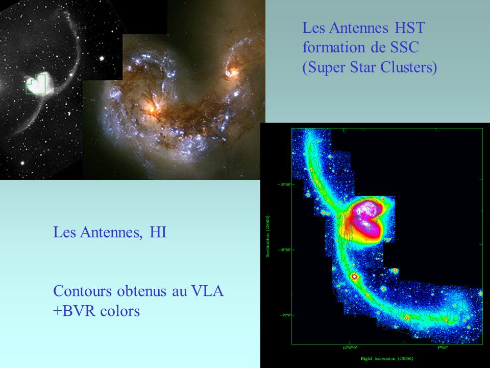 Les Antennes HST formation de SSC. (Super Star Clusters) Les Antennes, HI. Contours obtenus au VLA.