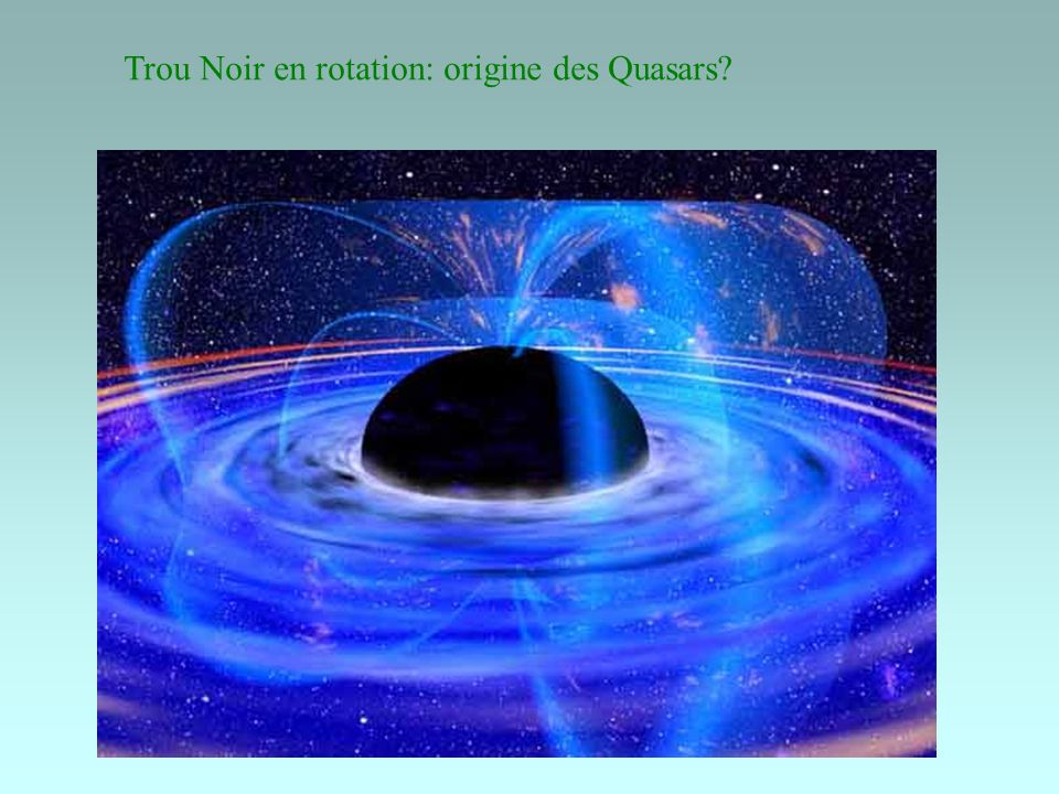 Trou Noir en rotation: origine des Quasars