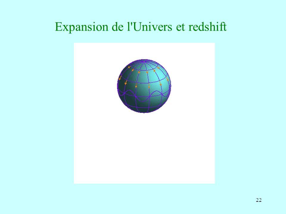 Expansion de l Univers et redshift